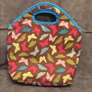 Other - Brown Lunch Bag W/ Colorful Butterflies &Blue Trim